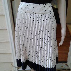 Ann Taylor pleated polka dot skirt